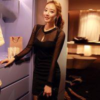 Wholesale Clubbing Girl Korean - Robe Sexy Dress Club Wear 2017 Autumn Dress Sheath Womens Dresses Party Slim Hole Black Korean Style Sexy Dresses