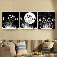 3 Pcs Black White Moon Fleur Pinturas Decoração para casa Canvas Picture Black White Wall Art Prints para Office Living Room