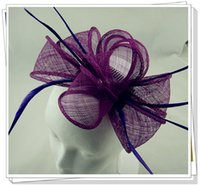 Wholesale Church Headband Hat - Free shipping multiple colors millinery New Sexy Lady Girl Large Headband Sinamay Fascinator Hat on Party Church Wedding,6 pieces lot,L51