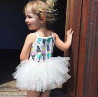 Wholesale Ice Cream Print Dress - Little Baby Girls Lace tutu Dresses Kids Girls Print Ice-cream Dress Babies Princess Dress 2017 kids Summer Clothing