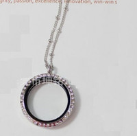 Wholesale Locket Station - Epackfree 5pcs 30mm round silver crystal lockets with ball station chains