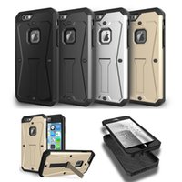 Wholesale Armored Case - Tank Armored Phone Cover For Iphone 6s Plus Samsung S7 edge Hybrid 3 in 1 Water Resistant Stand Cover With OPPBAG