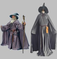 Wholesale custom cosplay outfits - Halloween Lord Of The Rings Gandalf Wizard Cosplay Costume Unisex Men Women Fancy Outfit Witch Costumes Custom Made