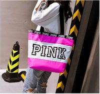 Wholesale Cy Pinks - Fashion Pink Letter Handbag Women Pink Letter Travel Bag Lady Waterproof One Shoulder Bags CY 001