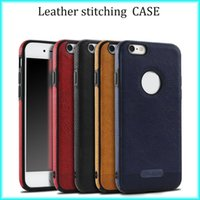 Wholesale For iPhone s For Samsung S8 S7 S6 New Business Leather Pattern Stitching Phone Case TPU Soft Shell Full Protection Anti drop Case