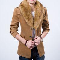 Wholesale- 2015 free shipping plus thick velvet coat khaki dark blue burgundy black four-color fur collar coat fashion classic