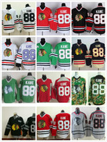 ingrosso nero nhl-2017 NHL Chicago Blackhawks # 88 Patrick Kane Hockey Jersey Home Bianco Rosso Verde Nero Grigio Camo Inverno Classic Cucito Logo a buon mercato