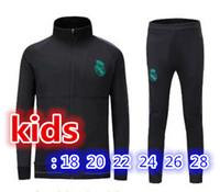Wholesale Boys Youth Jacket - top quality kids jacket set 2017 2018 Real Madrid soccer jackets kits 17 18 RONALDO KROOS BENZEMA BALE ISCO MODRIC youth tracksuit jacket.