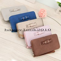 Wholesale Striped Phone Case - Drop shipping Multifunctional PIDANLU wallet bowknot lunch box ladies wallet long pencil case cell phone bag free shipping