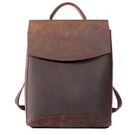 Wholesale Horse School Bags - Wholesale- 100% Genuine Leather Women Backpacks Crazy Horse Cowhide Top Quality Handcraft Bag,School Gril Daily Strap Laptop Backpack