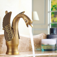 Wholesale Antique Copper Sink Basin - Antique Swan Faucet Full Copper Vintage Basin Faucet European Style Swan Water Tap Bathroom Sink Faucets Brass Finish Deck Mounted
