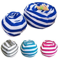 Wholesale flat chair - 4 Colors Storage Bean Bags Kids Plush Toys Beanbag Chair Bedroom Stuffed Animal Room Mats Portable Clothes Storage Bag CCA8331 10pcs