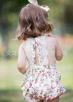 Wholesale Flower Rose Belt - 2017 Ins Baby Girl Print Rose Flower Rompers Cute Floral Lace Jumpsuits + Headband Belt Two Piece Sets Infant Toddler Soft Cotton Bodysuits