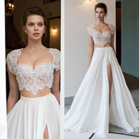 Wholesale Two Piece Halter Wedding Dresses - 2017 New Style Two Pieces Beach Wedding Dresses Beaded Applique Top Sexy Cap Sleeves High Split Chiffon Skirt Bridal Gowns Bohemain