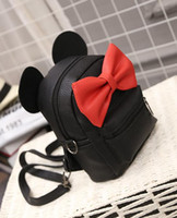 Wholesale multiple bags - Wholesale-2016 Bow mini ear bag, girls shoulder bag, size 16 * 9 * 21cm, multiple color options