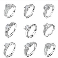 Wholesale Silver Pave Rings 925 - free shipping 1pcs 925 Silver Fashion Elegant Crystal Cubic Zirconia Diamond Bears Silver Bringes Bridal Engagement Wedding Rings Jewelry