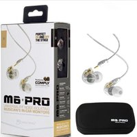 Wholesale Earphone Wires - MEE Audio M6 PRO Noise Canceling 3.5mm HiFi In-Ear Monitors Earphones with Detachable Cables Sports Wired Headphones 2 Colors DHL Free