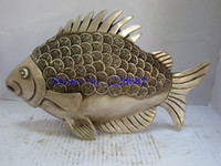 Wholesale Handwork Coins - Metal Crafts Collectible Decorated Old Handwork Tibet Silver Carved Coin Lucky Fish Statue Free shipping