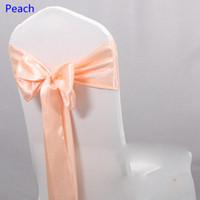 sandalye bağları toptan satış-Şeftali renk saten kanat sandalye sandalye için yüksek kaliteli papyon kanatları kapakları kanat parti düğün otel ziyafet ev dekorasyon toptan