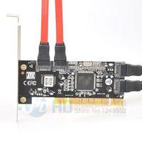 Wholesale Pc Serial Port - 1pcs Brand New 4 Port SATA PCI CONTROLLER RAID CARD 4 SATA SERIAL ATA PCI CONTROLLER RAID I O CARD PC+Cable