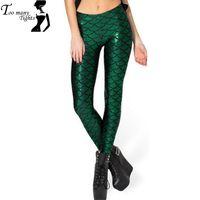 Wholesale Lowest Price Lycra Leggings - Lowest Price Crazy Sale! Novelty Fish Scale Shine Green women leggings 2016 Mermaid leggings punk pants Plus Size