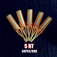 Wholesale Disposable Tattoo 5rt - Wholesale-New 50PCS RT5 Yellow Tattoo Round 5 Tips Gold Shark Disposable Pro-Sterile Tattoo Tip Nozzle 5RT Supply GSDT-5RT#