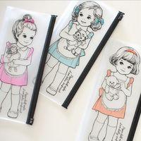 Wholesale Paper Doll Pencil - Wholesale-Korean kawaii Paper Doll Girl series Waterproof PVC pencil case  Transparent pencil bag Wash bag clear pouch bag  retail