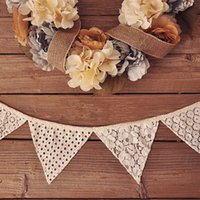 Wholesale Bunting Wholesale - Wholesale-98 inch 10Pcs Flags High Quality Vintage Lace Flag Wedding Birthday Party Decoration Banner Bunting Home Decor Event Supplies