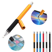 Wholesale fine phone - 2 in 1 Multifunction Fine Point Round Thin Tip Touch Screen Pen Capacitive Stylus Pen For Smart Phone Tablet For iPad For iPhone