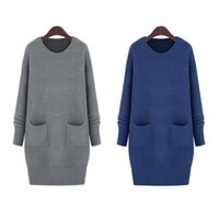 Wholesale Dress Sweater Size Xs - Wholesale-2016 Fall Winter Fashion simple retro long sleeve Women sweater women Pure Knitted Long Pullovers dresses Plus Size 5XL