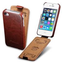 apple 4s чехлы для телефонов оптовых-Откидная крышка чехол для iPhone 4 4S искусственная кожа чехол для телефона сумка коке для Apple iPhone 4S чехол роскошный деловой стиль TOMKAS