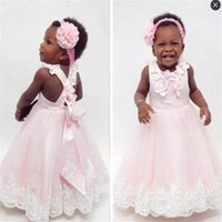 Wholesale Handmade Crosses Images - Baby Pink Toddlers Flower Girls Dresses Jewel handmade Flowers Back Cross Straps First Communion Dress Children Lace Appliques Pageant Gowns