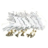 Wholesale Wall Hanging Bell - Wholesale-Christmas reindeer decoration 6pcs white metal bell reindeer wall hanging 3.9in for home Christmas elk decor free shipping