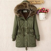 Wholesale Military Uniform Long Coat - Winter women parka coat military uniform 2018 new thicker cotton explosion in the long section of the waist Hooded cotton women coat H127