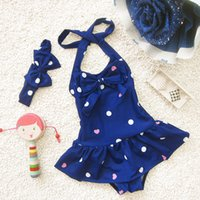 Wholesale Headband Navy - Korea Baby swimwear one piece with headbands 2017 Kids Swimsuits Children Dots Sweet swimsuit set 2 colors beach red navy Free DHL