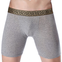 Wholesale Mens Long Sexy Underwear - Long Boxers Mens Knee Length Shorts Solid color cotton sport Tight underwear fashion streched legging Golden waist Men's sexy gay Penile bag