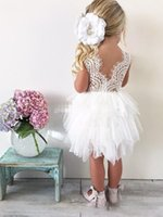 Wholesale Tutu Toddler For Girls - Tutu White Boho Flower Girl Dresses for Wedding Toddler Infant Baby Ruffles Jewel Neck Cheap Little Child Guest Party Dress Lace Tulle