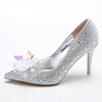 Wholesale Heels Women Shoes Shiny - Beaded Crystal 9cm High Heel Wedding Shoes 2017 Shiny Bridal Shoes New Fashion Women Shoes Free Shipping