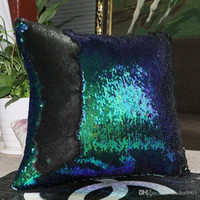 Wholesale White Crochet Pillow - Black White Silver Golden Gold Rose Sky Blue Red Pink Shiny Sequins Pillow Case Sequins cushion Case Cover Sofa Decor Pillow Covers