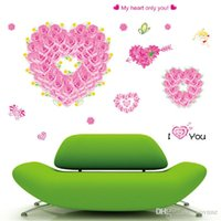 Wholesale Diy Adornment Sticker - DIY wall stickers Romantic beautiful love bedroom home plane TV background adornment waterproof PVC wall stickers