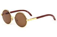Wholesale Occhiali Da Sole Sunglasses - rimmed Fashion vintage woods gold buffalo glasses frames men women circle round sunglasses with box occhiali da sole uomo donna