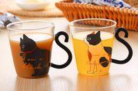 Wholesale Music Mugs - Cute Creative Cat Kitty Glass Mug Tea Cup Milk Coffee Cup Music Dots English Words Home Office Cup