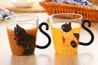 gatito de cafe al por mayor-Music Dots English Words Home Office Cup Cute Creative Cat Kitty Glass Mug Tea Milk Coffee Cup