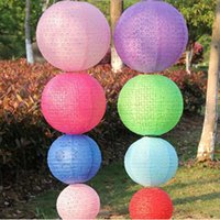 Wholesale Vintage Chinese Lantern - DIY Vintage hollow out mulit color 8inch(20cm) Round Chinese Paper Lantern Birthday Wedding Party Home Decor ZA3124