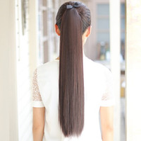 Mix Color black synthetic ponytail - Women long straight hair ponytails pony tail hair extensions CM CM CM CM