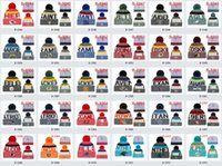 Wholesale Popular Football - winter beanies cap All football Team baseball football basketball beanies sports team Women Men popular fashion winter hat free shipping