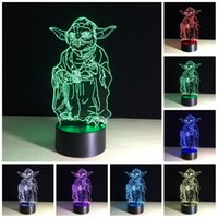 Led Energy Star online - Star War Yoda Master Muiti color 3D lamp gradual change energy saving mini led night light