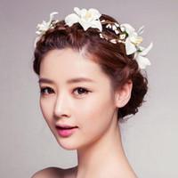Wholesale Lily Hair Wedding - Lily Flower Wreath Cloth Hair Accessories Artificial Floral Beach Hairbands Bride Headwear For Wedding Headdress