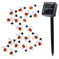 Wholesale Bee Solar - Honey Bee Solar String Lights 20 Led Garland Light String Flasher Bumble Bee Lights for Garden Home Party Decoration