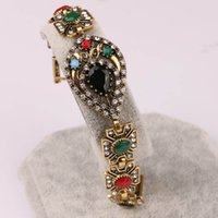 Wholesale Antique Sterling Bangle - Women's Antique Gold Water Drop Cute Bracelet Rhinestone Bangles Ladies Jewelry Accessories